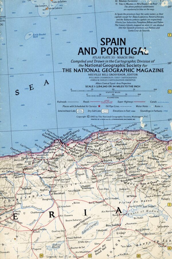 National Geographic Map March 1965-0